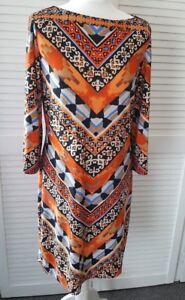 Beige By Eci Ladies Orange/Multi Print Tunic Dress Size 12