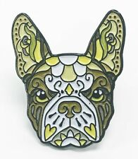 French Bulldog Brown White Sugar Skull Tattoo Breed Dog Lover Enamel Lapel Pin