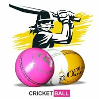 6x Cricket Ball Stitched Leather Hard Club League Match t20 Indoor School Yellow