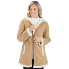 Collections Etc Women's Polar Fleece Sherpa Lined Zip Up Coat BEIGE LARGE