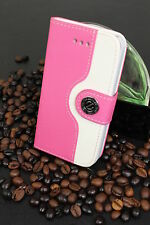 Luxus iPhone 4 4S Tasche Schutz Hülle  Case Cover Etui Rosa / Weiss