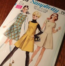 "Simplicity 7819 Pattern Jumper Dress Vintage From 1968 Size 14 Short 36"" Bust"