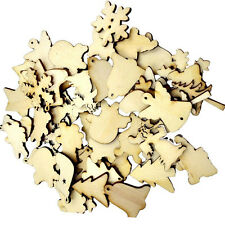 50x Wood Christmas Embellishment For Scrapbooking Crafts DIY Xmas Decor Gifts
