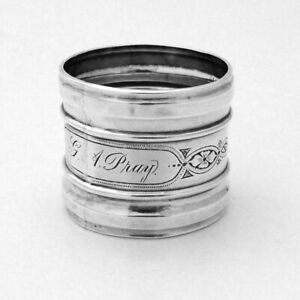 Canadian Napkin Ring Robert Hendery Sterling Silver 1850s Mono GI Pray