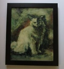 LENORE BERAN CAT KITTEN EXPRESSIONISM MODERNIST 1960S PAINTING ABSTRACT VINTAGE