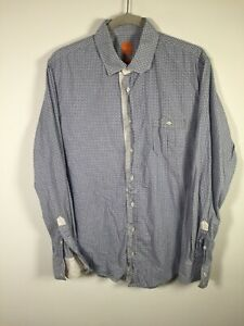 Hugo boss mens white and blue patterned button up shirt size L slim long sleeve