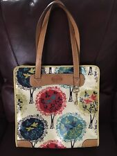 Fossil Key-per Birds Of Spring Coated Canvas Large Tote EUC