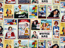KELLOGGS CEREAL RETRO VINTAGE PRINT  LADIES ADS PATCH 100% COTTON FABRIC YARDAGE