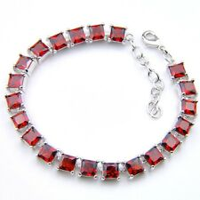 Handmade Jewelry 5MM Squre Cut Fire Red Garnet Gemstone Silver Charming Bracelet