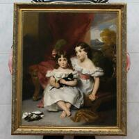 """Old Master-Art Antique Oil Painting Portrait small girl on canvas 30""""x40"""""""
