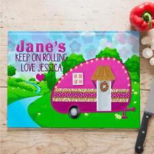 Personalised Caravan Camping Cooking Baking Glass Chopping Board Home Mum Gift