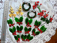 CHRISTMAS HOLLY, BERRIES & SPRAY Mix - GREEN , RED, GOLD & SILVER