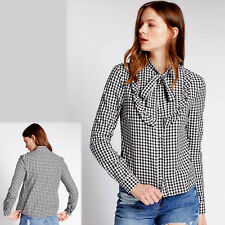 New M&S Ruffle Trimmed GINGHAM Check SHIRT with TIE NECK ~ Size 12 ~ BLACK Mix