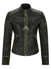 Ladies Vintage Biker Leather Jacket Soft 100% Lambskin Classic Casual Style 2028
