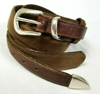 Orvis Mens Belt Brown Leather Ranger Solid Brass Buckle Made in USA Size 38