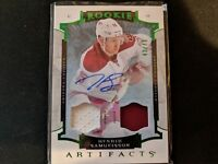 2015-16 UD Artifacts Dual Jersey Patch Auto Emerald #/49 - Henrik Samuelsson NM+