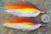 (2) RUST/YELLOW BAITFISH FLIES. FLY FISHING SALTWATER, BASS, PIKE, MUSKY. bf12
