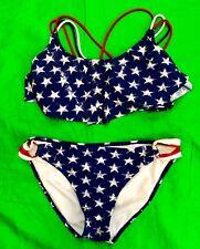 Xhilaration American Flag 2 Piece Bikini Large XL Red White Blue