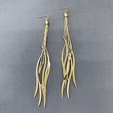 Long Gold Finished Unique Chained Metal Tassel Design Drop Dangle Hook Earrings