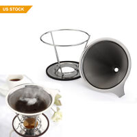 Stainless Steel Pour Over Coffee Filter Cone Dripper Reusable Filter w/Cup Stand