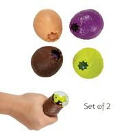 Set of 2 Squeeze Dinosaur Eggs Squishy Water Filled Stress Relief