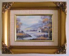 Vintage Miniature Landscape Framed Oil Painting Signed