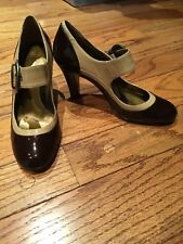 CIRCA JOAN & DAVID Cjmindy Brown/Tan Patent Leather Mary Jane Pumps Shoes sz 6.5