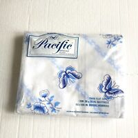 Vintage Twin Flat Sheet NOS Pacific Butterfly Stripe Blue