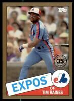 2020 Update 1985 Baseball Gold #85TB-24 Tim Raines /50 - Montreal Expos