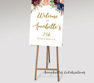 Printable Welcome Sign Burgundy Blue 18th 21st 30th 40th Birthday Decoration