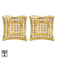 Men's 14K Gold Plated Double Square Kite Screw Back Stud Earrings BE 002 G