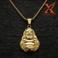 """Stainless Steel 18k Gold Plated Sided Buddha Pendant Necklace Box Chain 3MM 24"""""""