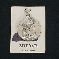 "Antaya Sterling Silver Pendant Medal Silver .75"" Vtg Religious La Galette"