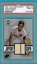 2001 UD Gold Glove Luis Aparicio Game Used Jersey #GG -LA PSA 9! White Sox! POP2