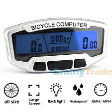 LCD Backlight Bike Computer Odometer Bicycle Cycling Speedometer Waterproof