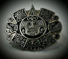 Chicano Mens Lowrider Hat Fedora Vintage Aztec Sun God Silver Button Badge Pin
