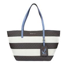 Michael Kors Women's Large East West Brown Blue Stripe Tote Purse Bag Handbag