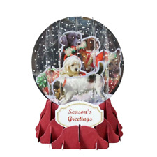 Christmas Dogs Pop Up Snow Globe Greeting Card Holiday Christmas Card New