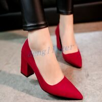 Party Shoes Pointed Toe High Heel Pumps Ladies Heels Women's Faux Suede size new