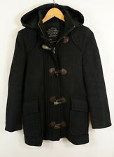 Allsaints Artillery Wool Duffle Coat Jacket UK8 Black