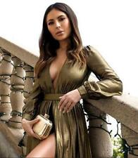 BEBE GOLD DEEP V FOIL SHORTS GOWN DRESS $179 NEW NWT XSMALL XS 2