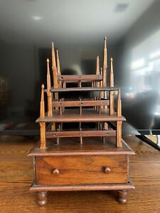 Rare Antique Wood Sewing Stand W/drawer & Layers Of Thread Holders/ Holes