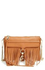 NWT Rebecca Minkoff Fringe Mini MAC Cognac Almond Brown Leather Crossbody Bag