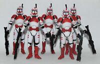 "Lot of 5 Star Wars Shocktrooper Red White Clone Trooper 3.75"" Loose Figure"
