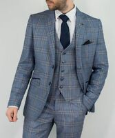 Cavani Mens Brendan Blue 3 Piece Tweed Check Wedding Suit Prom