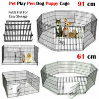 8 Panel Pet Dog Pen Puppy Foldable Playpen Indoor Outdoor Enclosure SMALL LARGE