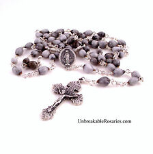 Miraculous Medal Jobs Tear Rosary Beads w Italian Medals Unbreakable Rosaries