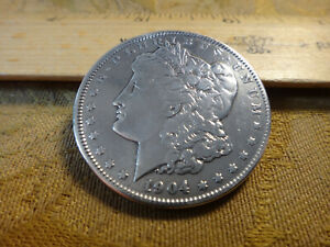 1904 United States Morgan Silver Dollar $1 Cleaned - No Reserve - Free S&H USA