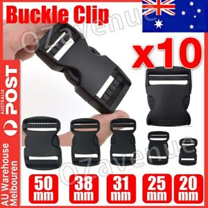 10PCS 25mm Black Plastic Side Quick Release Buckle Clip –Cord Strap Backpack Bag