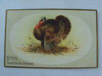 Vintage 1908 Happy Thanksgiving Greeting Turkey Embossed Postcard p660